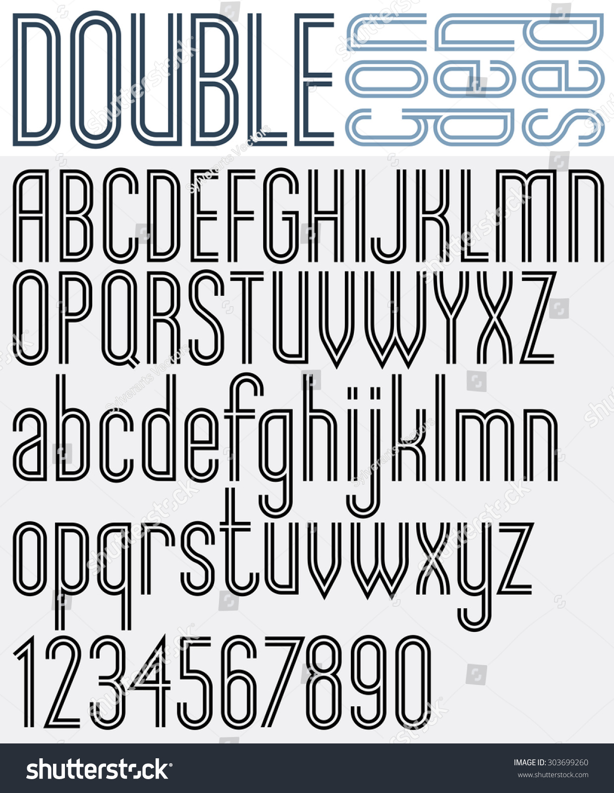 Double Line Retro Style Geometric Font Light Condensed Version Trendy And Stylish Letters Alphabet