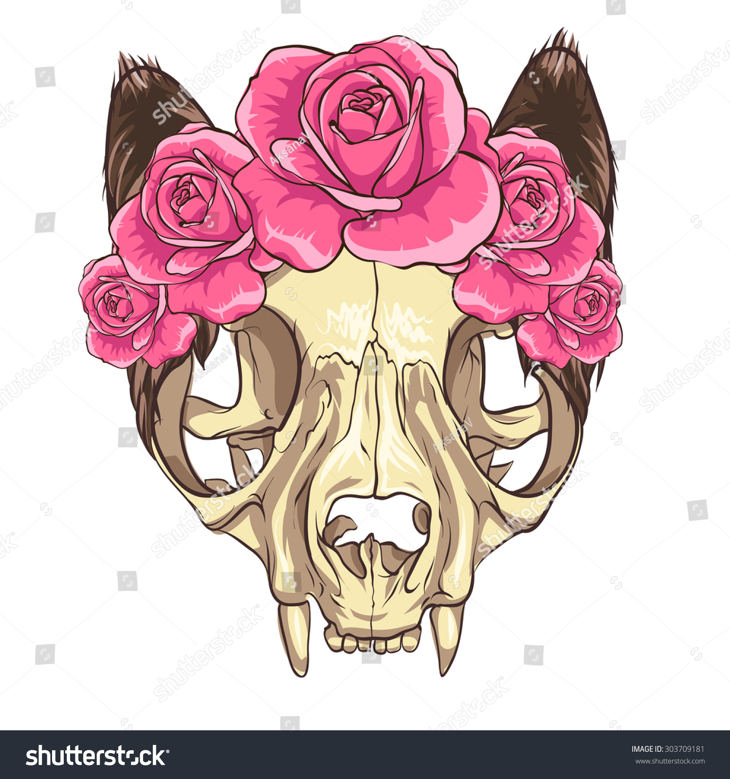 Cat Skull Pink Flowers White Background Stock Vector Royalty Free