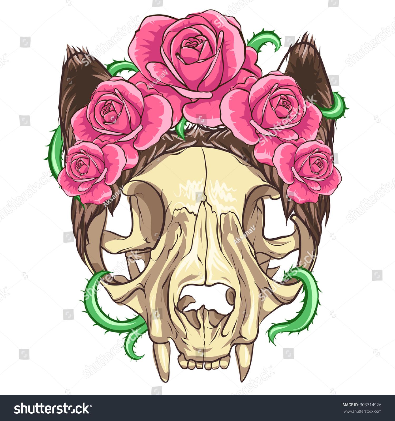 Cat Skull Pink Roses Vine White Background Stock Vector Hd Royalty