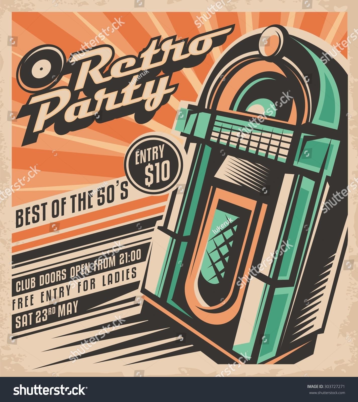 Retro Party Invitation Design Template Vintage Stock Vector 303727271 - Shutterstock