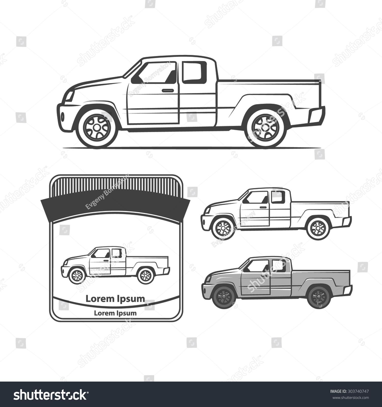 Design car club logo - Pick Up Profile View Club Logo Design Elements Emblems
