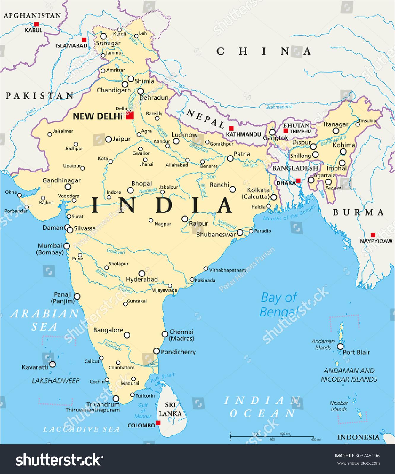 india political map capital new delhi stock vector 303745196
