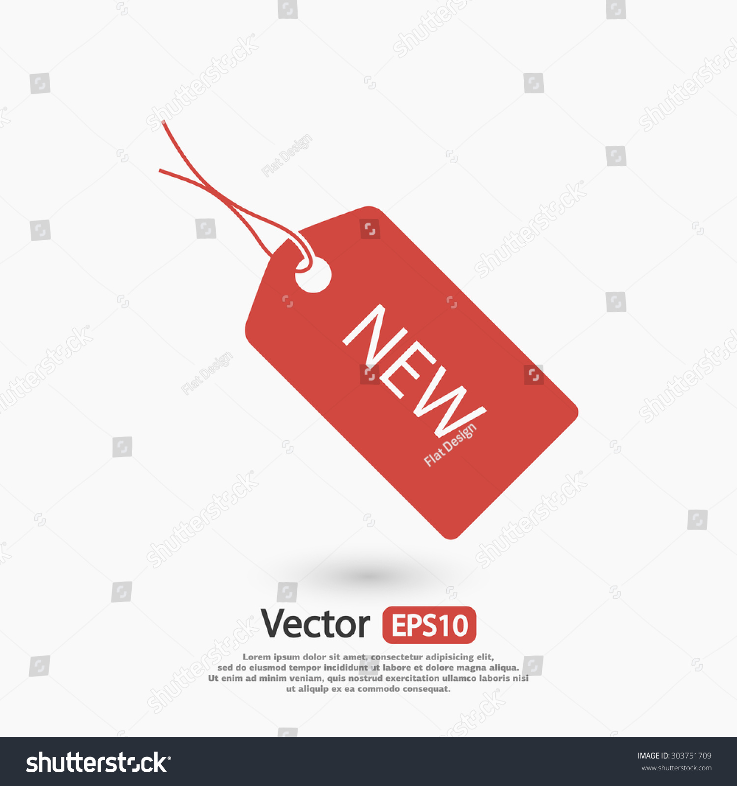 New Tag Icon Vector Illustration Flat Stock Vector
