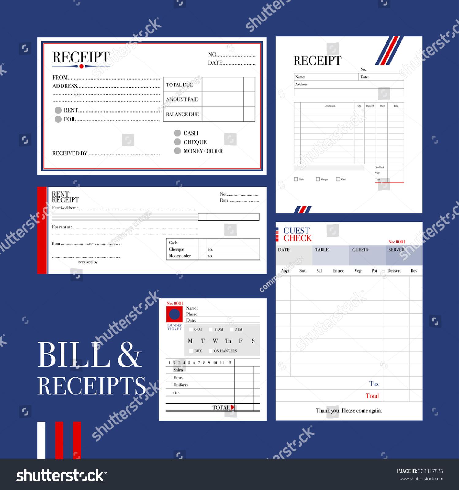 Bill Receipts various Types Bill Receipt Templates Vector – Bill Receipt