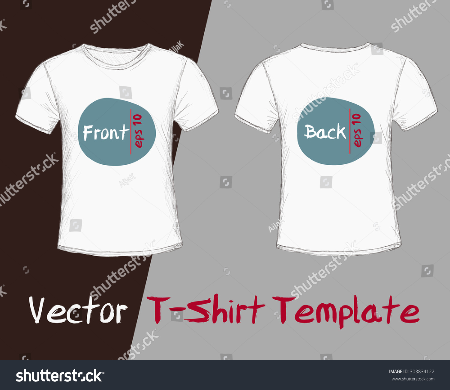 Design t shirt sample - Vector Of T Shirt Template Male Front And Back View Hand Drawn