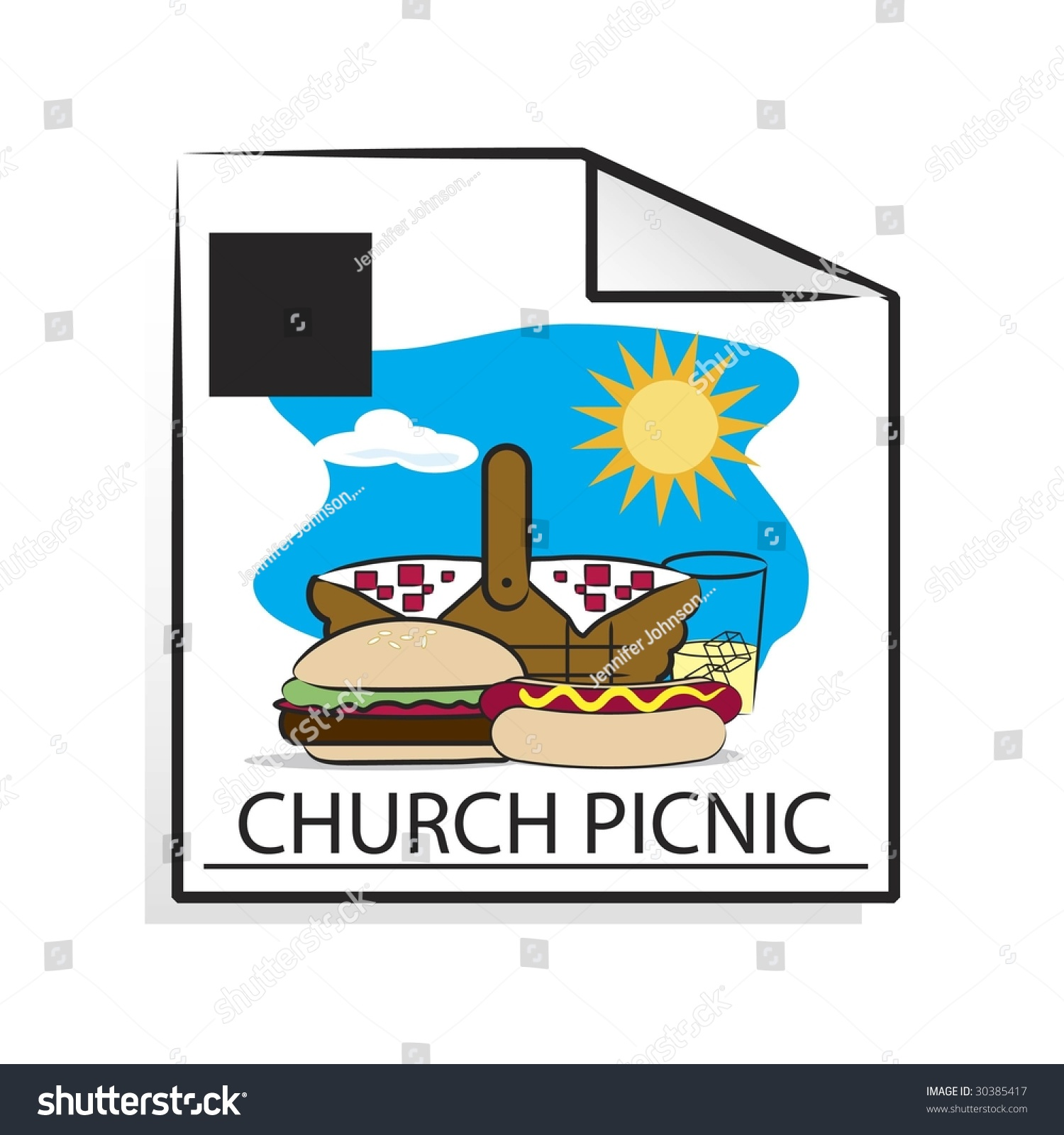Calendar Page Clip Art : Church picnic calendar page stock illustration