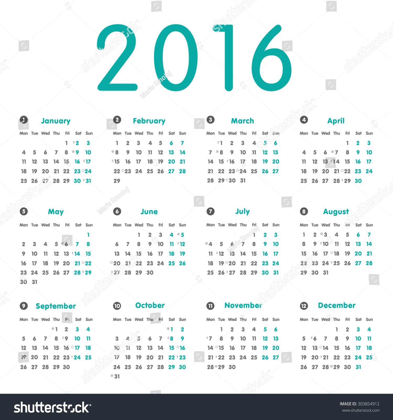Vector simple calendar 2016 with moon phases, well arranged. Retro ...