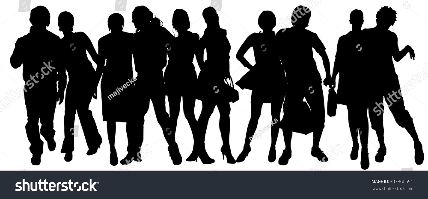 Vector Silhouette Group People On White Stock Vector ...