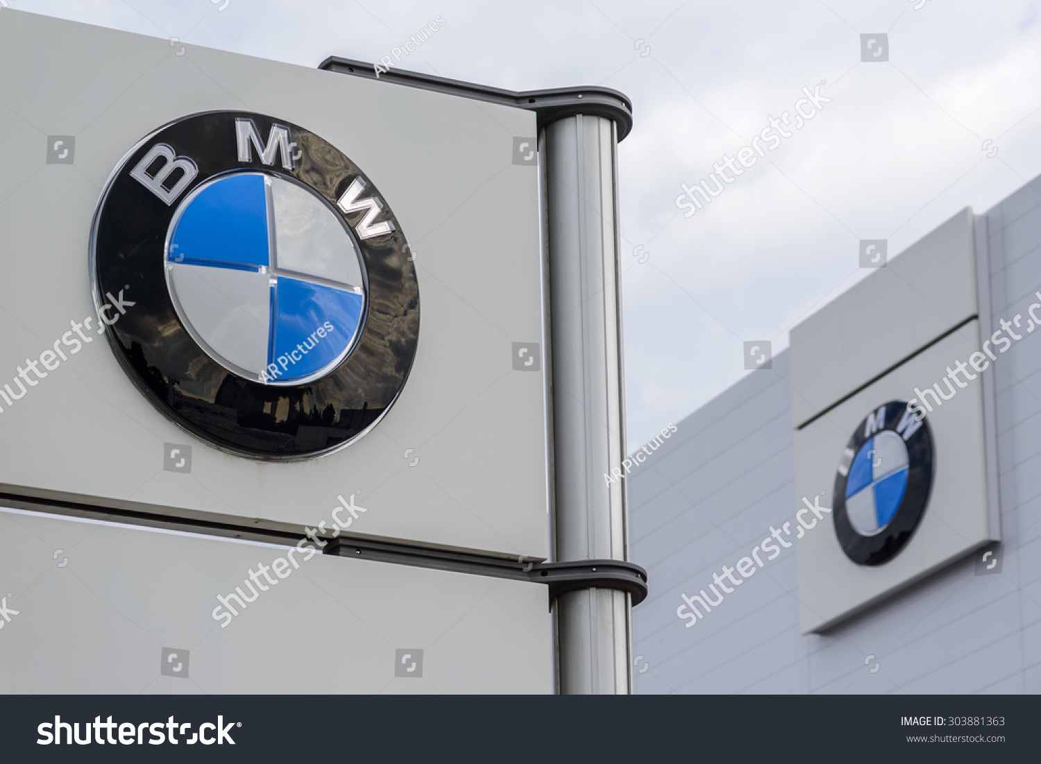 Berlin Germany July 23 The Logo Of The Brand Quot Bmw Quot At A New Car Dealer Building On Jul 23
