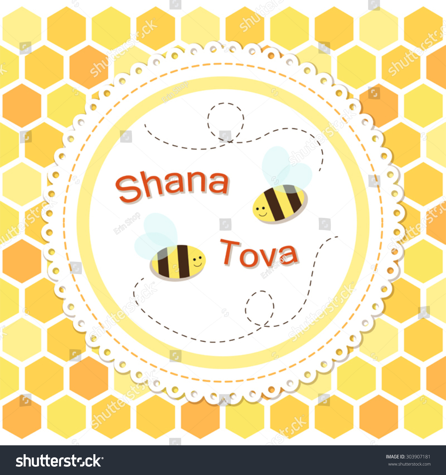 Cute greeting card shana tova jewish stock vector 303907181 cute greeting card shana tova jewish new year with two funny bees on honeycombs m4hsunfo