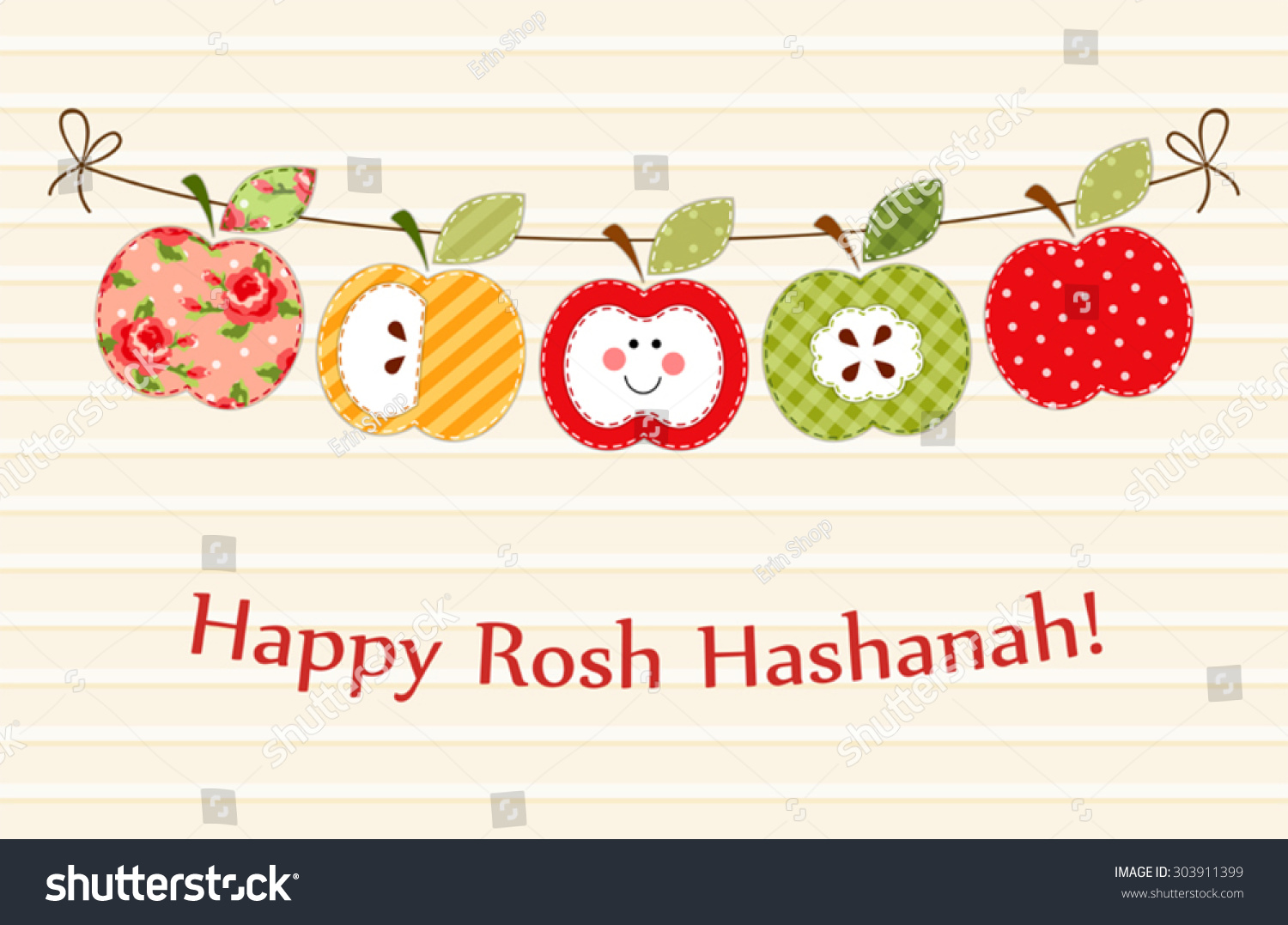 Cute Bright Apples Garland Rosh Hashanah Stock Vector 303911399 ...
