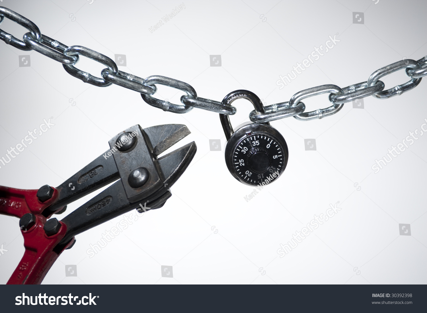 Cutting open chain lock on white background stock photo 30392398 shutterstock - How to open chain lock ...