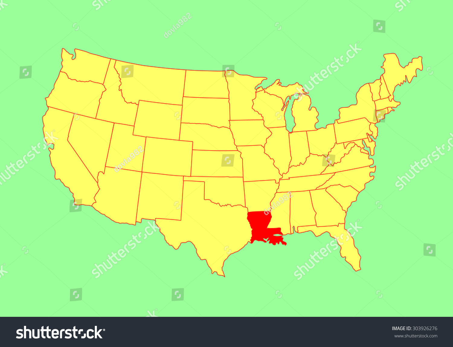 Louisiana State Usa Vector Map Isolated Stock Vector - Louisana state map
