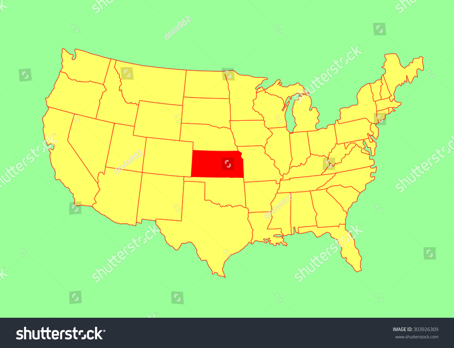 Kansas State Usa Vector Map Isolated Stock Vector Royalty Free