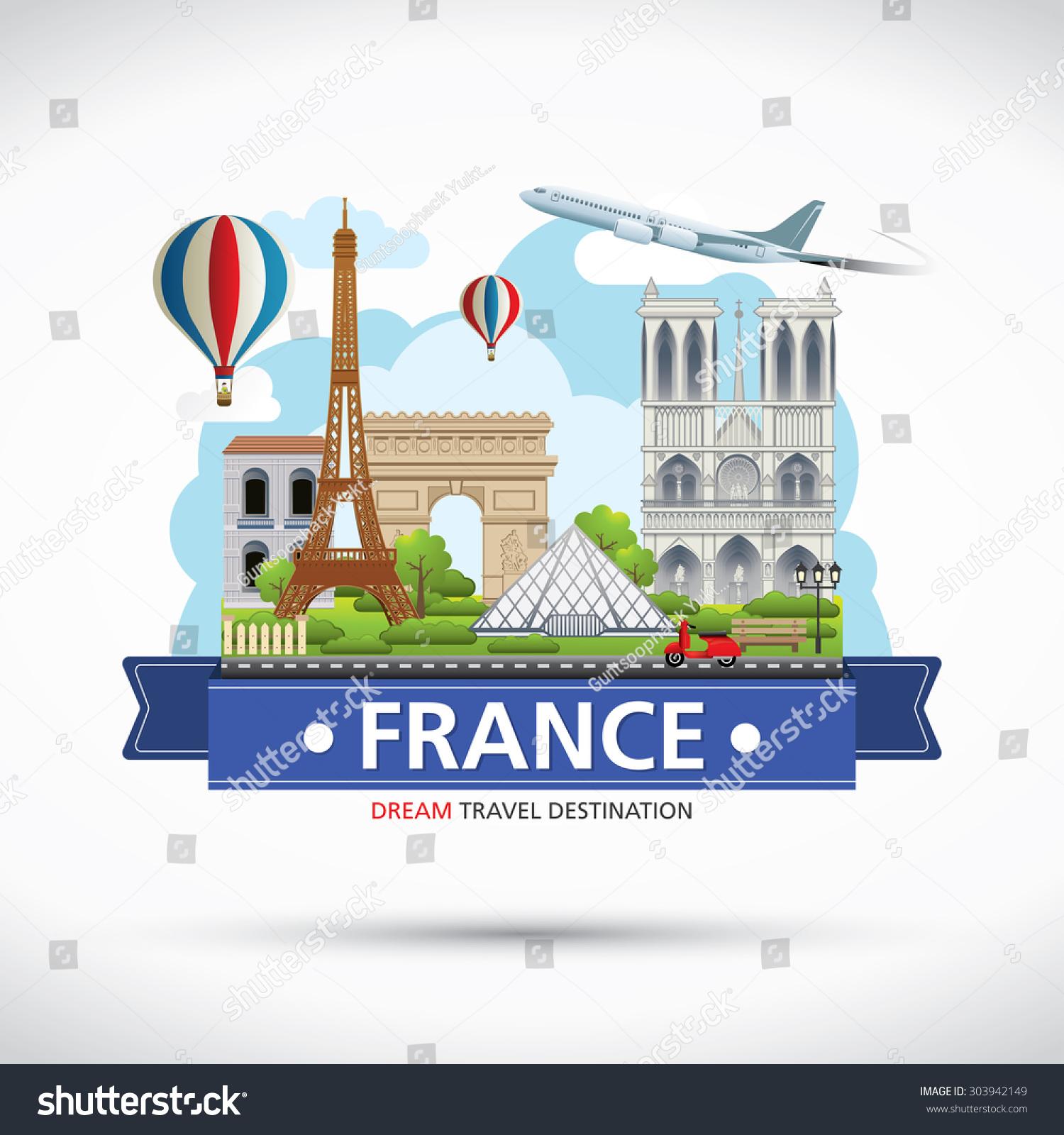 stock vector paris france travel destinations icon info graphic elements traveling