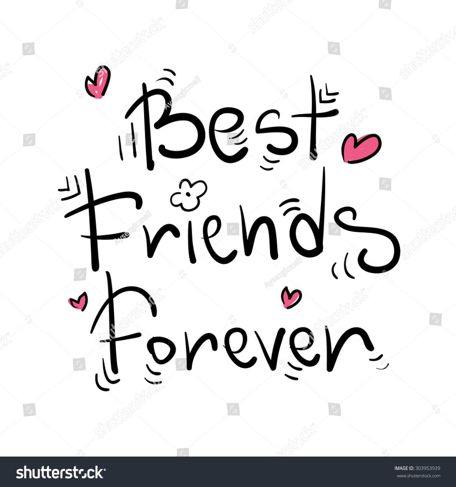 Best Friends Forever Greeting Card Poster Stock Vector Royalty Free