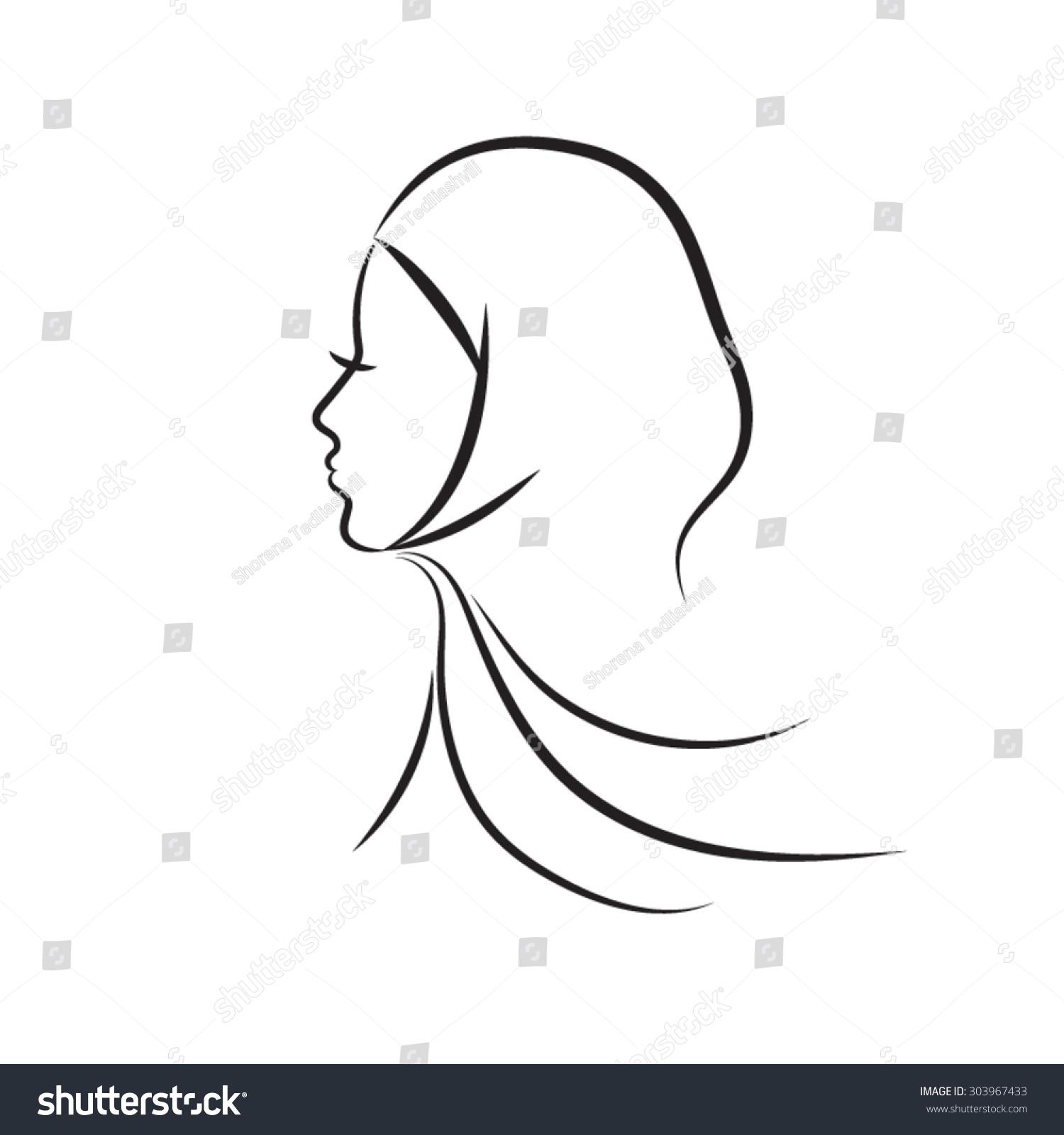 Beautiful arabic muslim woman outline style stock vector 303967433 beautiful arabic muslim woman outline style vector biocorpaavc
