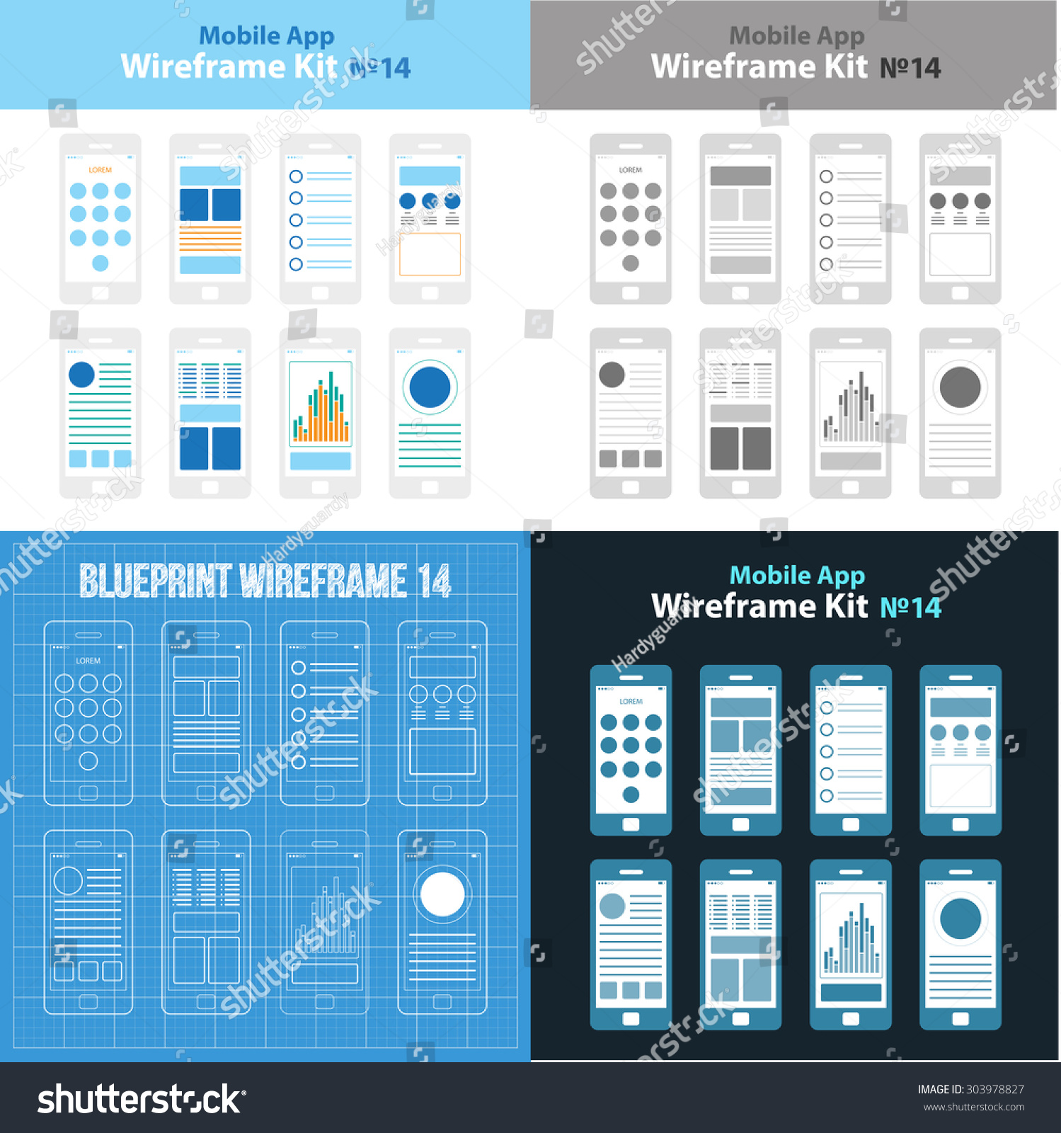 mobile app wireframe ui kit 14 stock vector 303978827 shutterstock. Black Bedroom Furniture Sets. Home Design Ideas