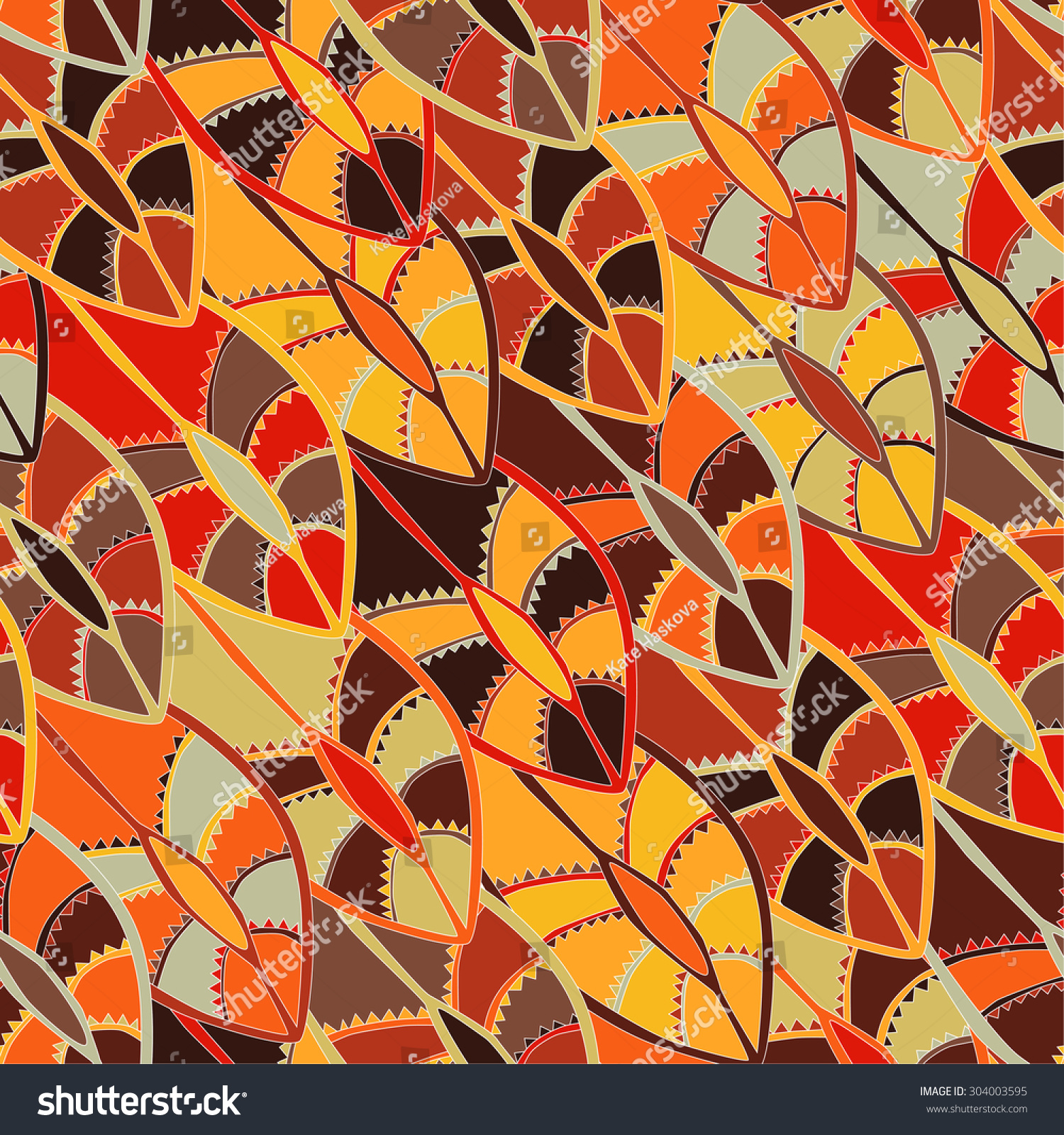 Colourful Ethnic Pattern Earth Colours Motifs Stock
