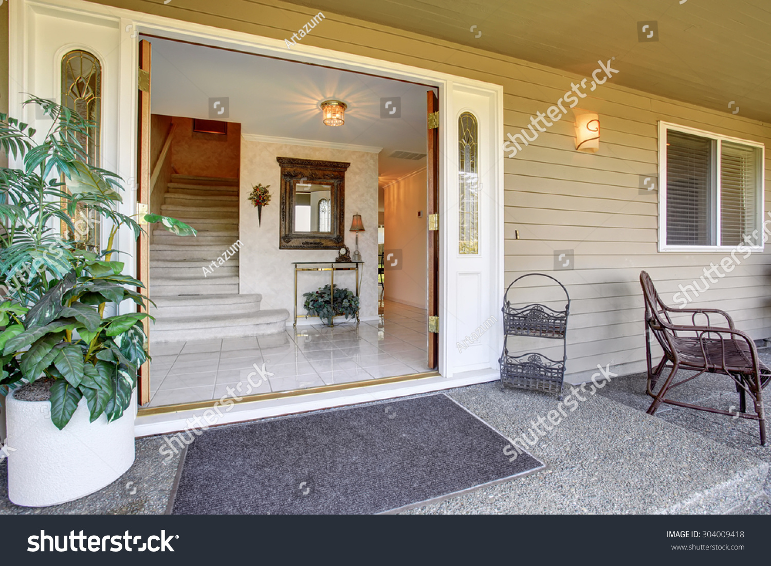 stock photo double front doors of luxury home with covered porch 304009418 double front porch house plans ] free patio chair plans how to,House Plans With Double Front Porches