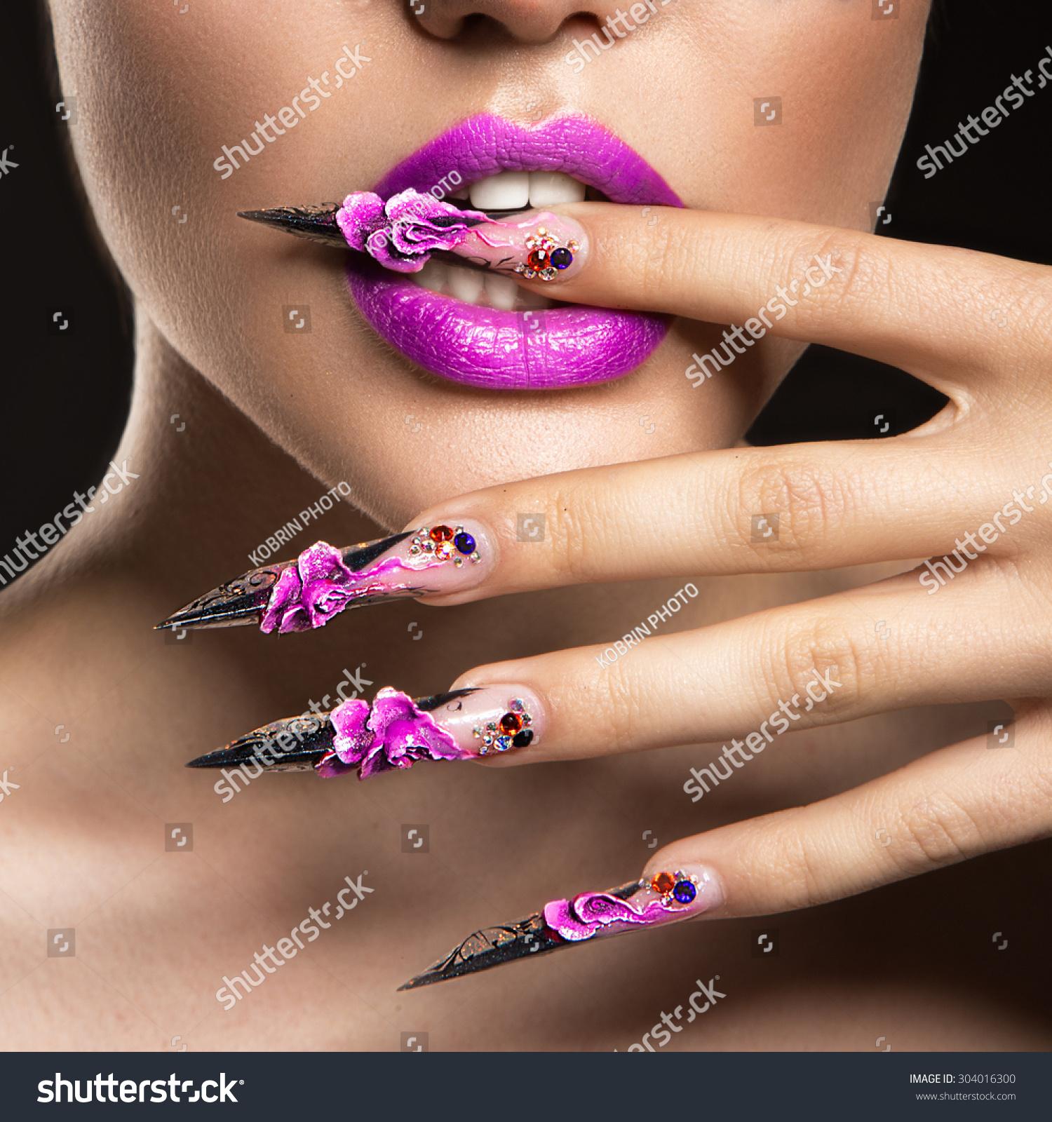 Beautiful Girl Mask Long Nails Sensual Stock Photo (Safe to Use ...