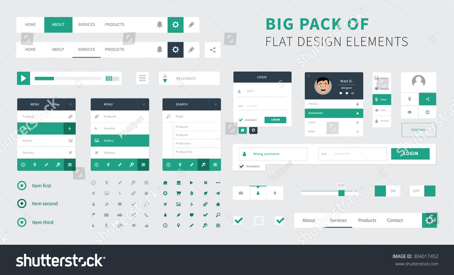 Pack Flat Design Ui Kit Vector Stock Vector Royalty Free 304017452