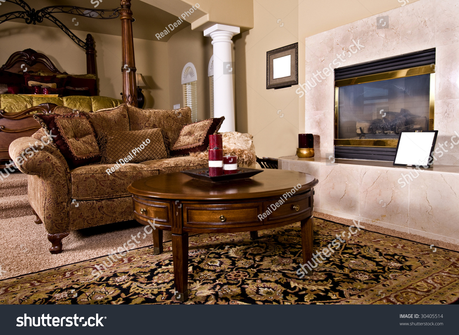 Master Bedroom Sitting Room Master Bedroom Sitting Room Fireplace Over Stock Photo 30405514