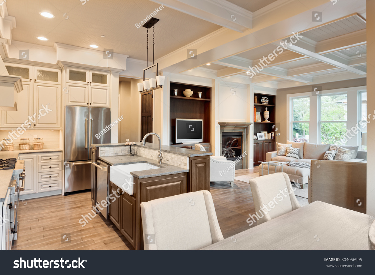 Beautiful Living Room With Hardwood Floors Fireplace And