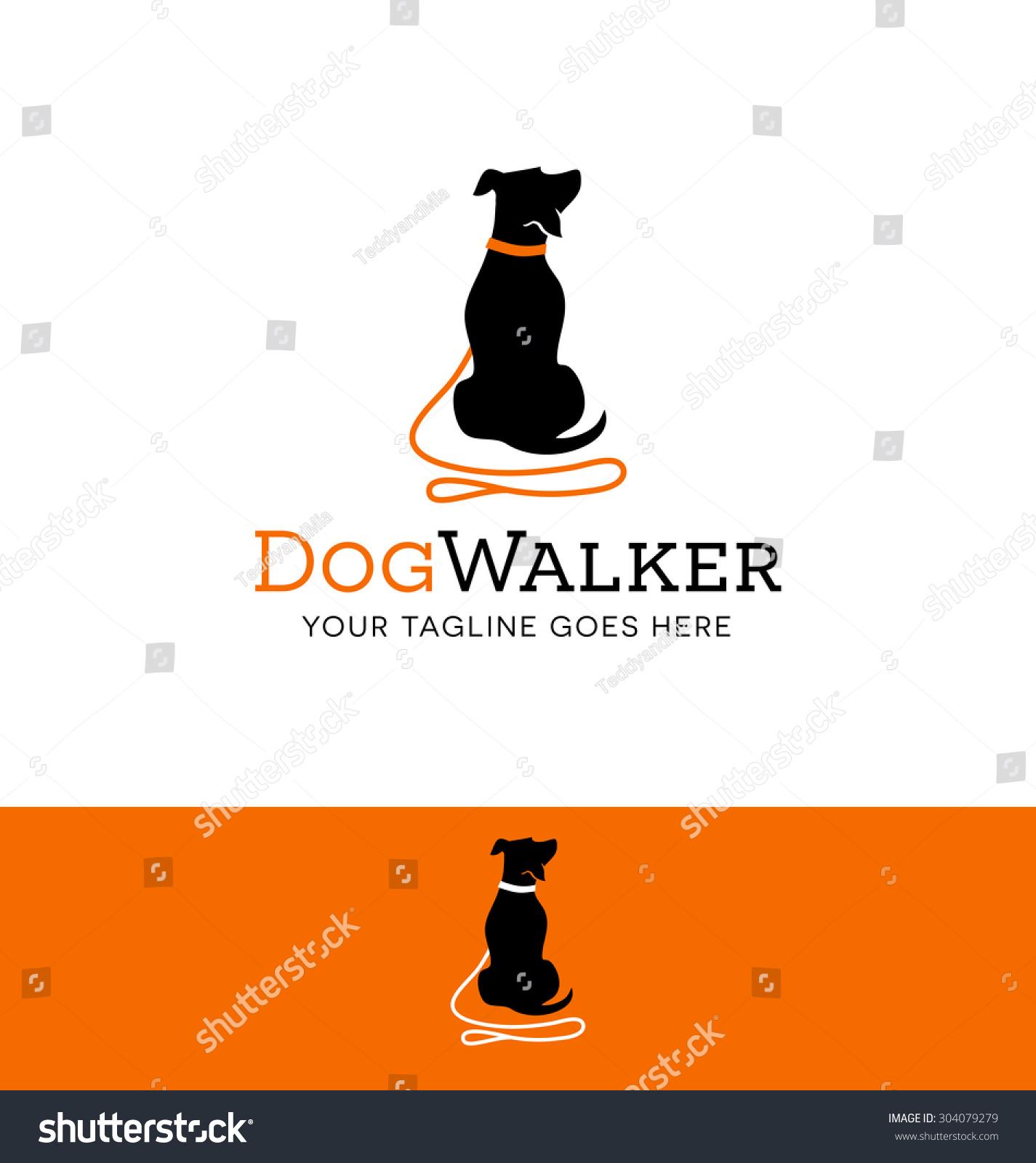 logo design dog walking training dog stock vector  logo design for dog walking training or dog related business
