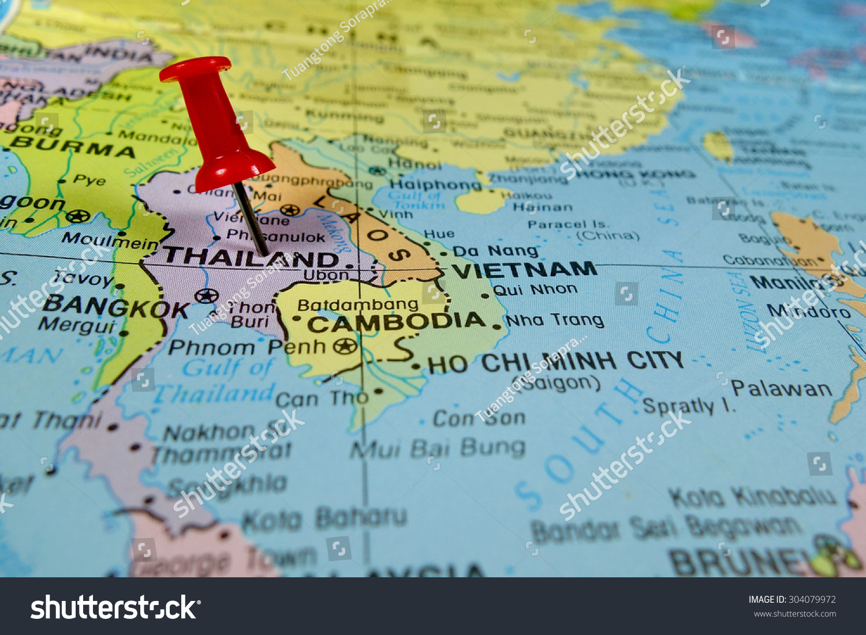 Pushpin Marking On Thailand Map Stock Photo Shutterstock - Thailand map