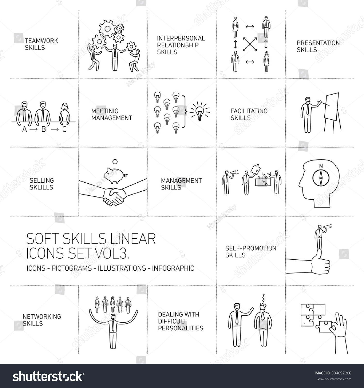 soft skills linear vector icons pictograms stock vector 304092200 soft skills linear vector icons and pictograms set of human skills in business and teamwork black