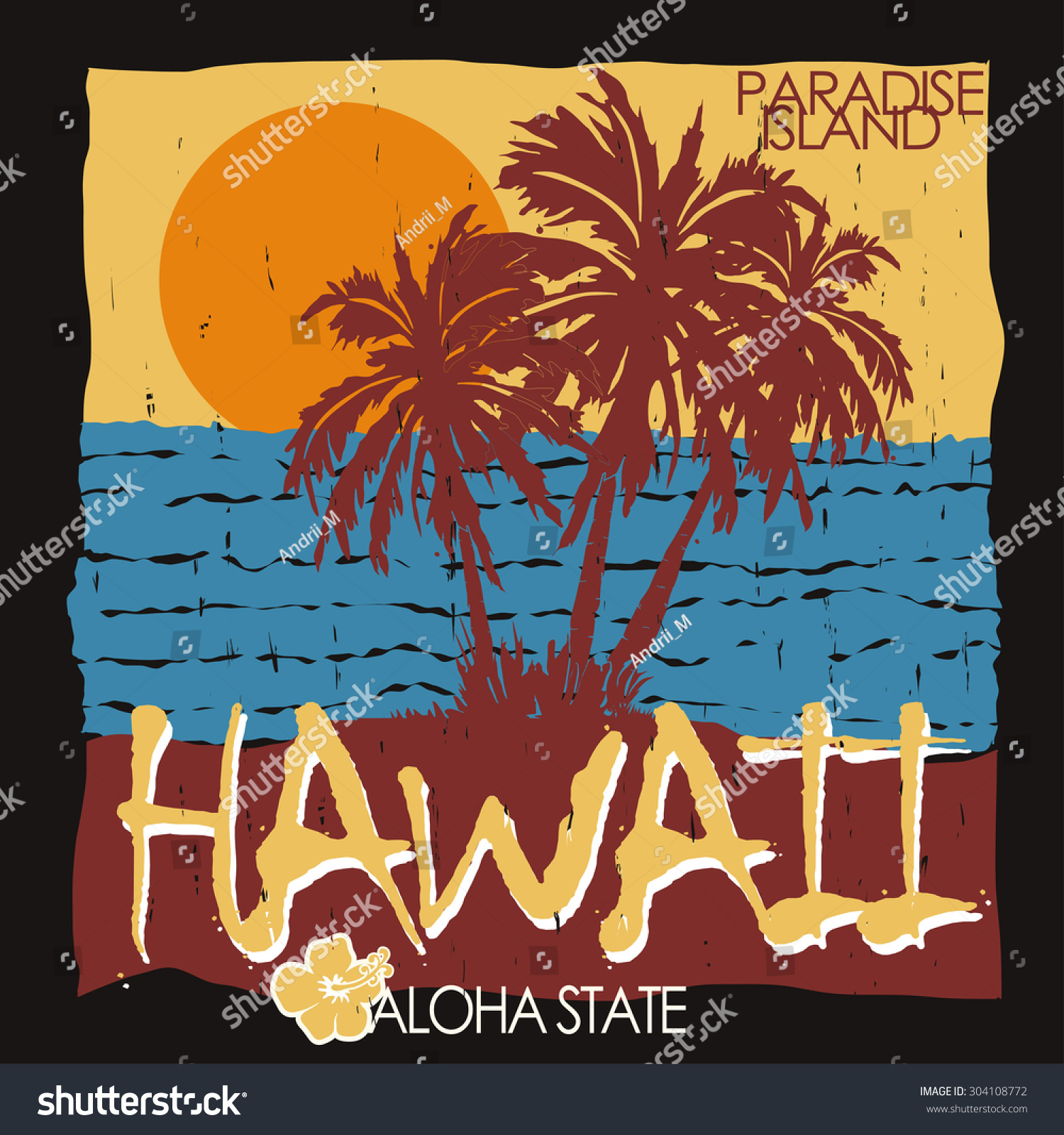 T shirt design hawaii - Hawaii Tropical Beach Summer Art Design Palm Trees Ocean And Sun Creative T