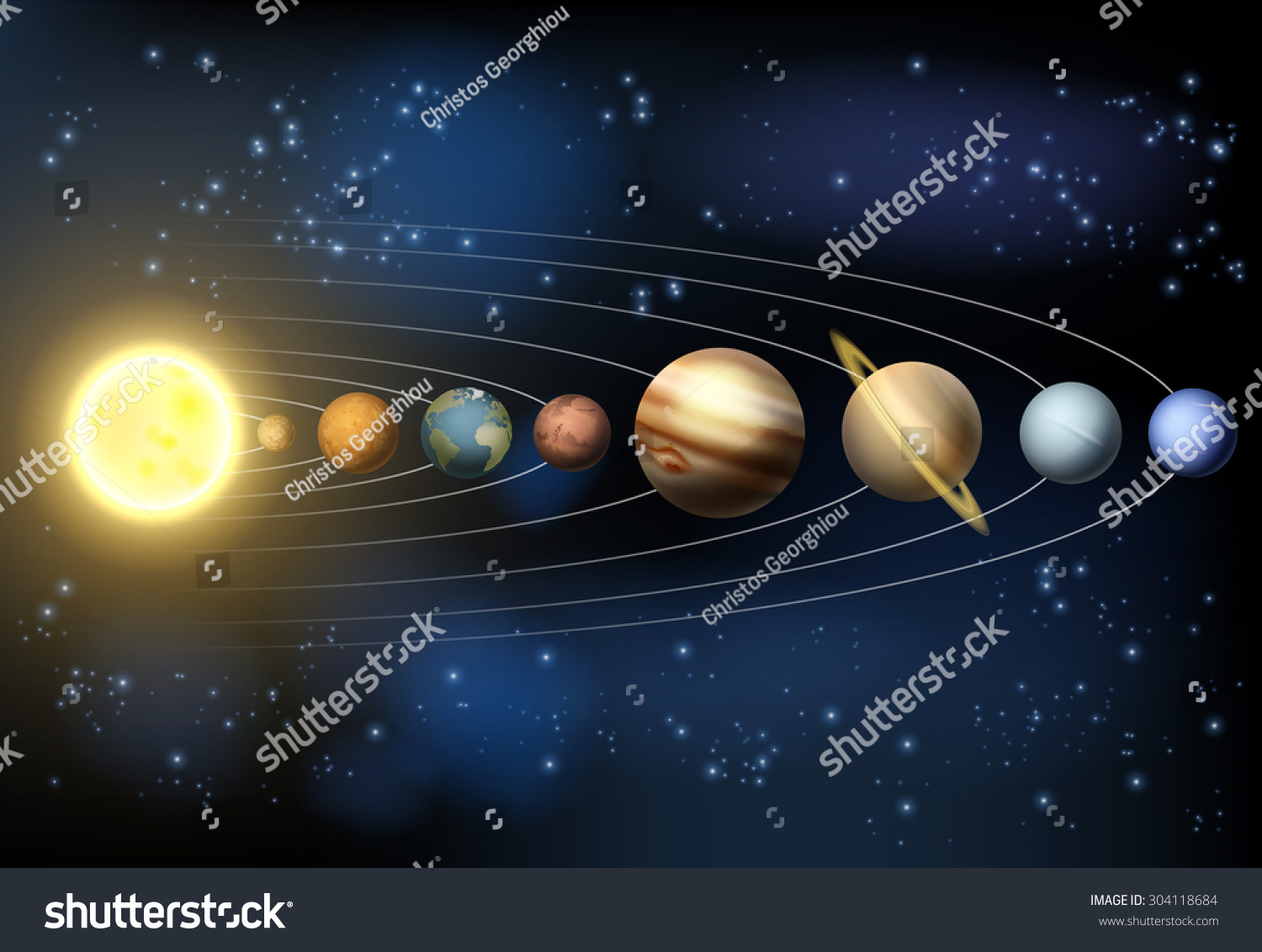Illustration Planets Our Solar System Orbiting Stock ...