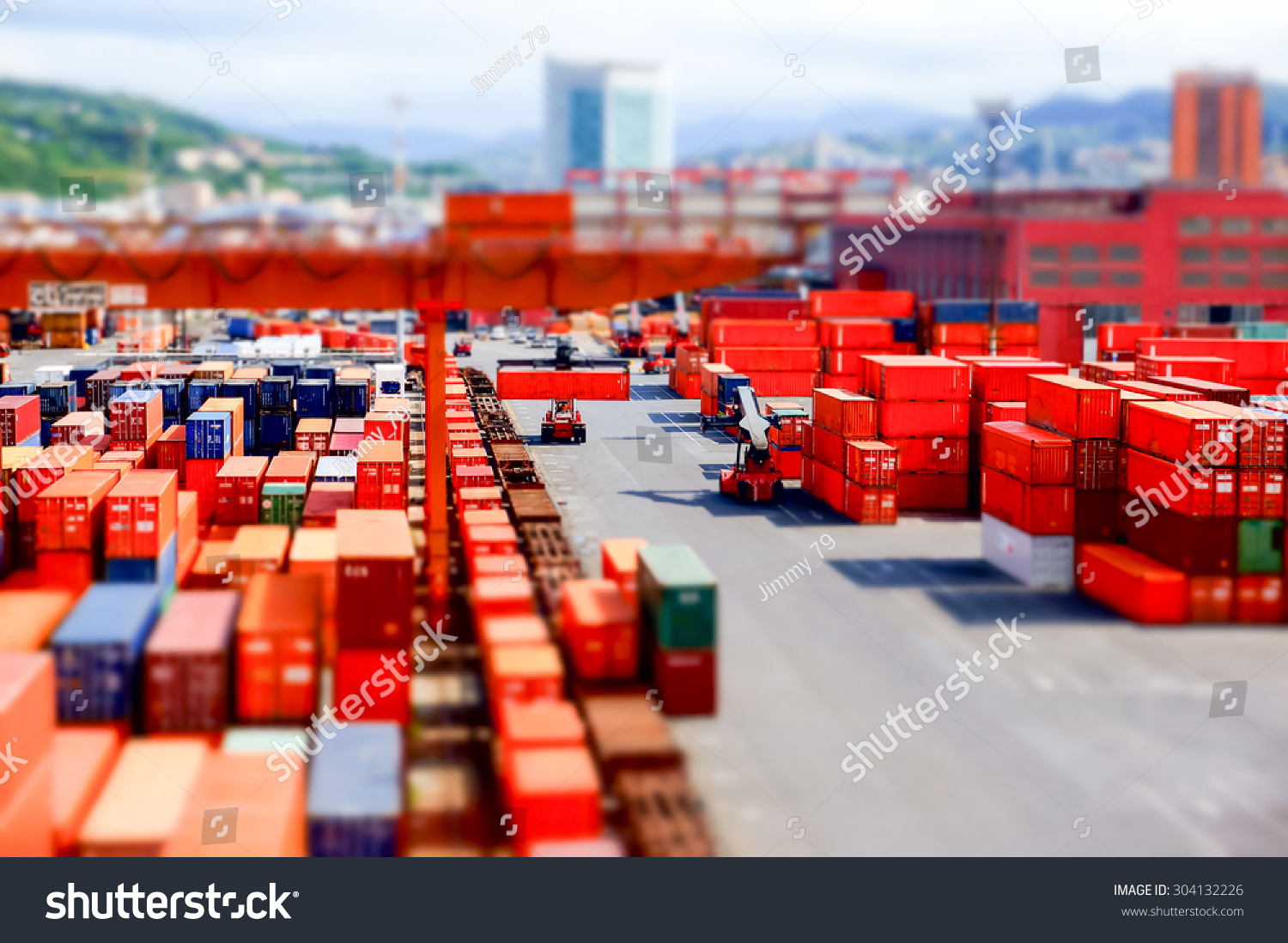 View of a container terminal at the port of Genoa effect model