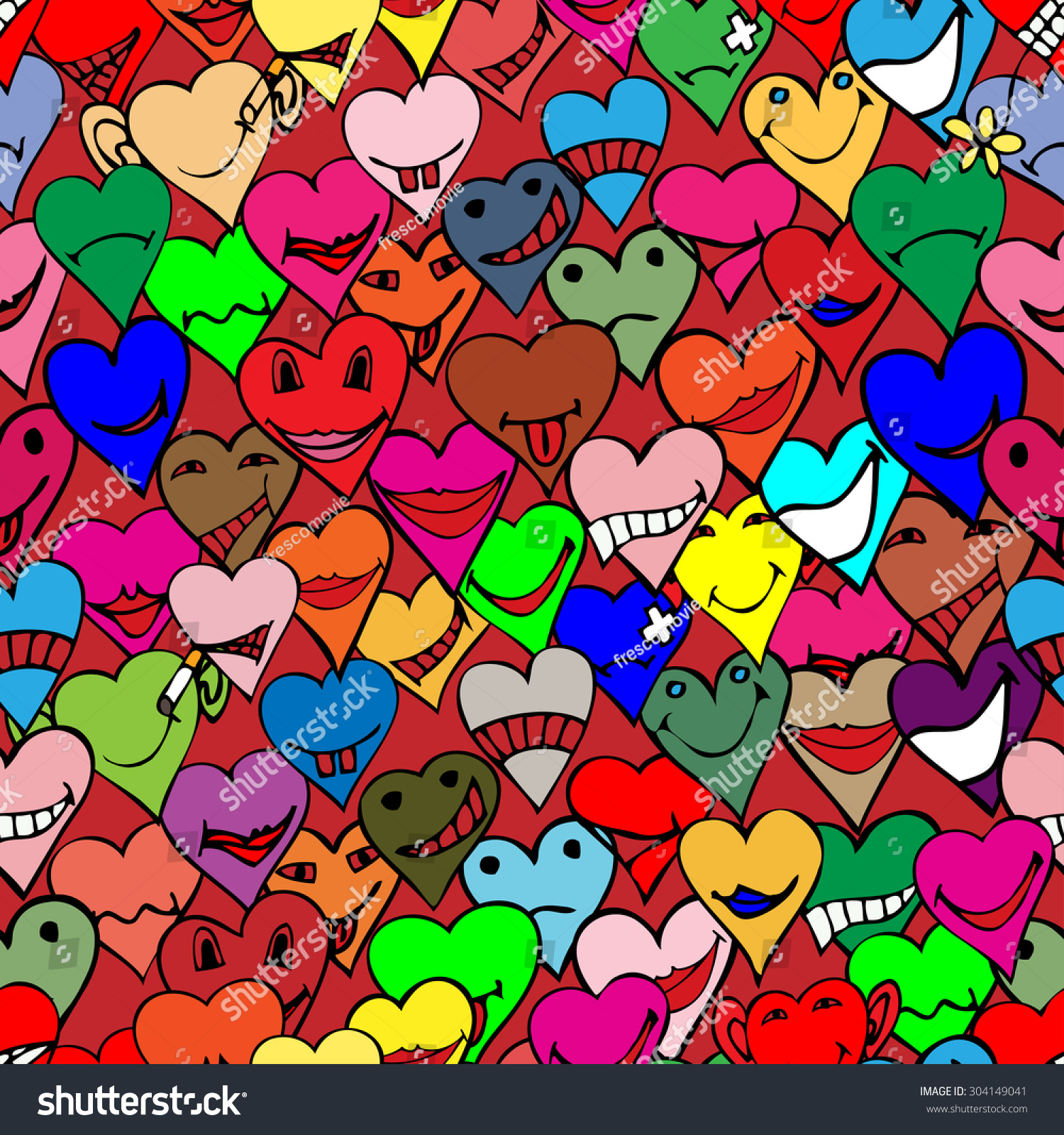 Pattern Made Collection Different Heart Symbols Stock Illustration