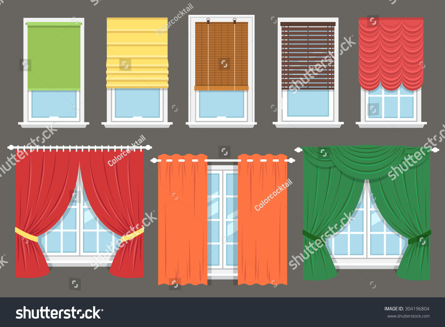 Vector Collection Various Window Treatments Curtains Stock Vector ... for Window With Curtains Illustration  557yll