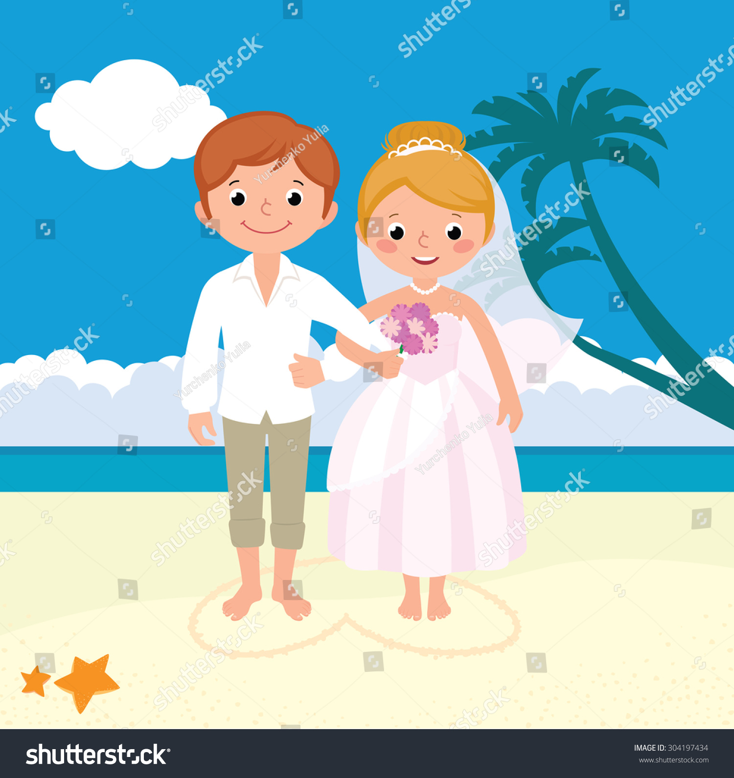 Stock Vector Illustration Wedding Newly Married Stock