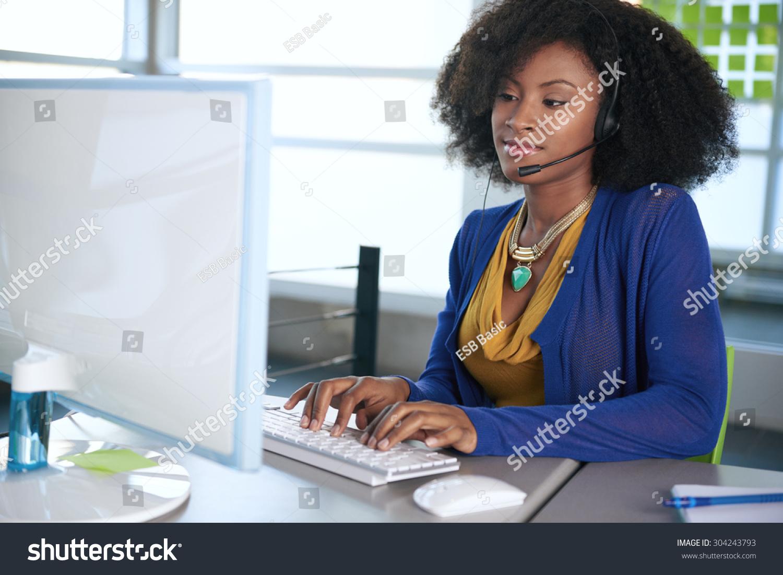 Portrait Smiling Customer Service Representative Afro
