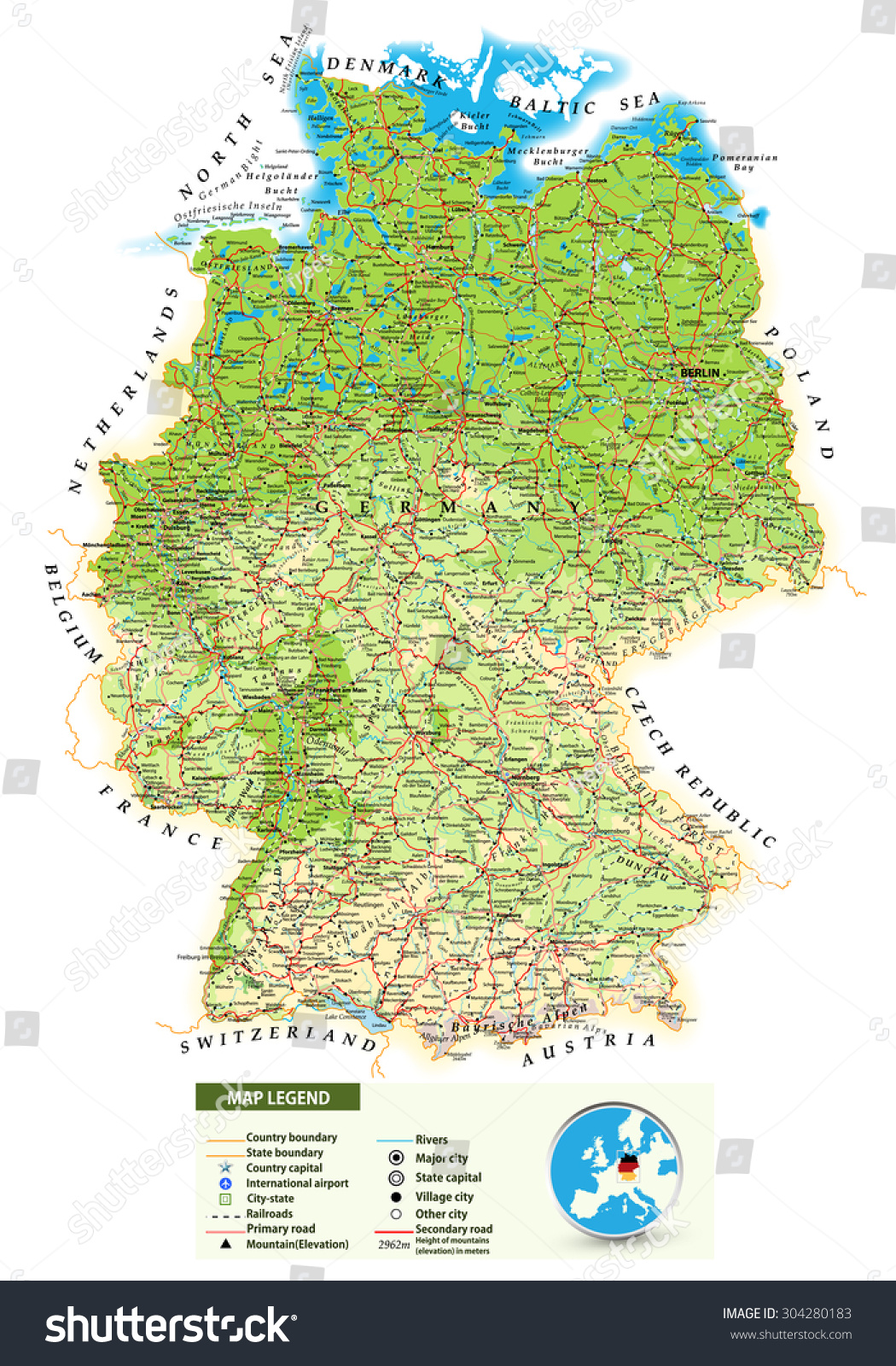 large detailed road map of germany with topographic contours all cities villages water