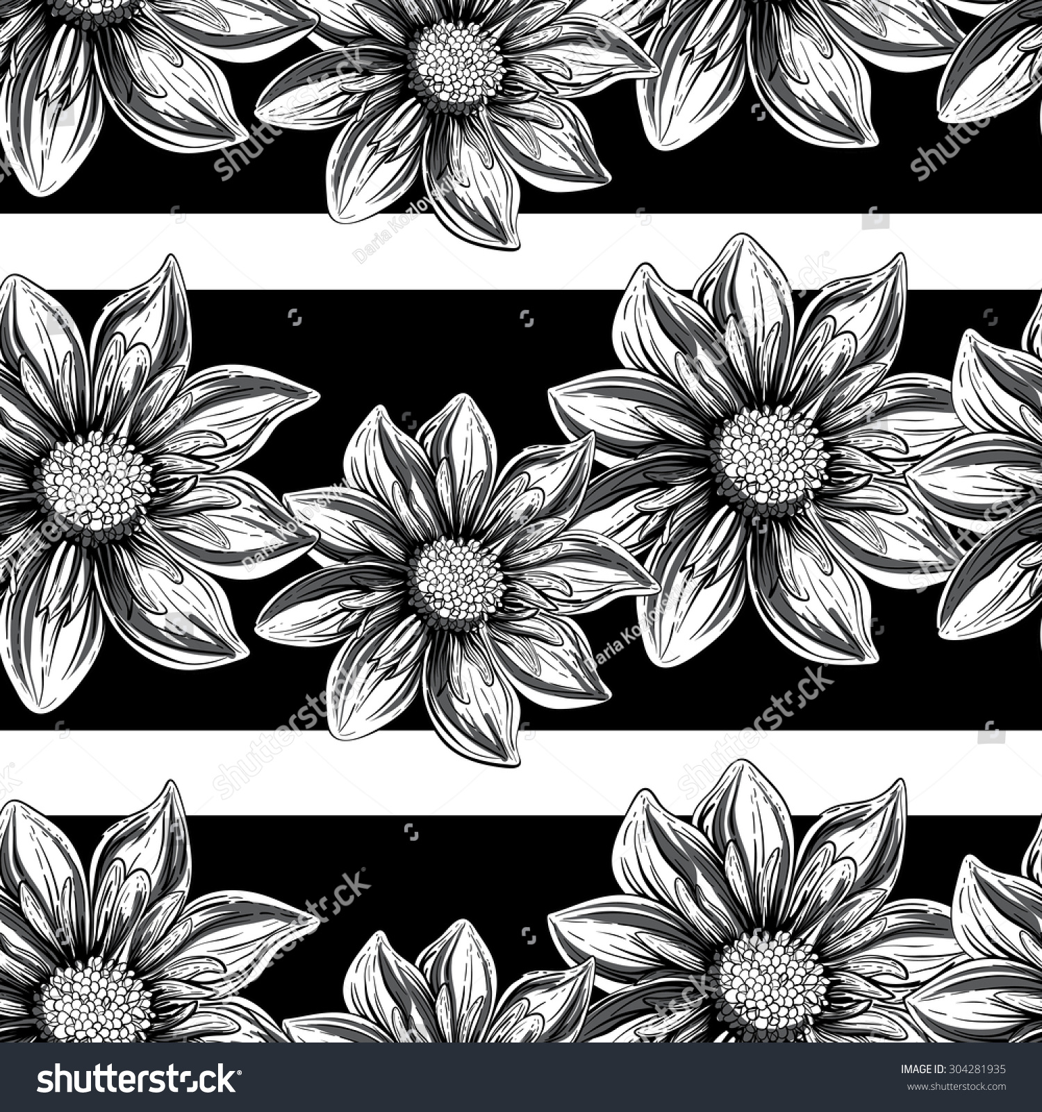 Flowers Black White Outline Seamless Pattern Stock Vector Royalty
