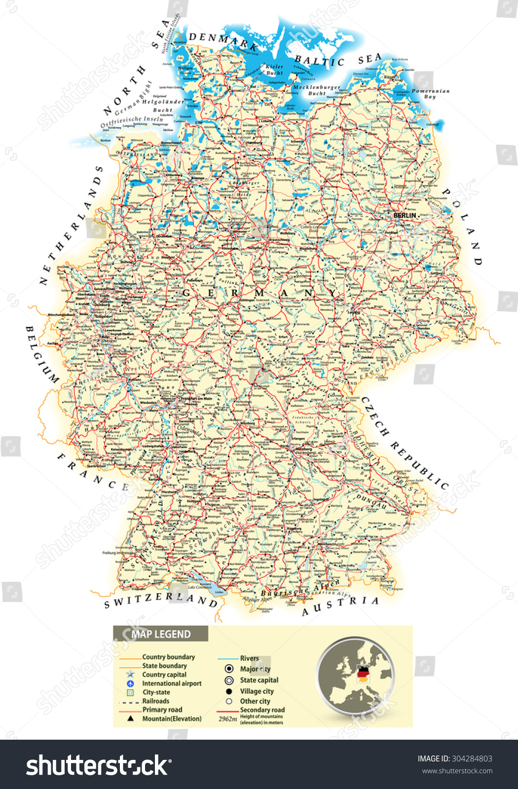 Large Detailed Road Map Germany All Stock Photo Photo Vector