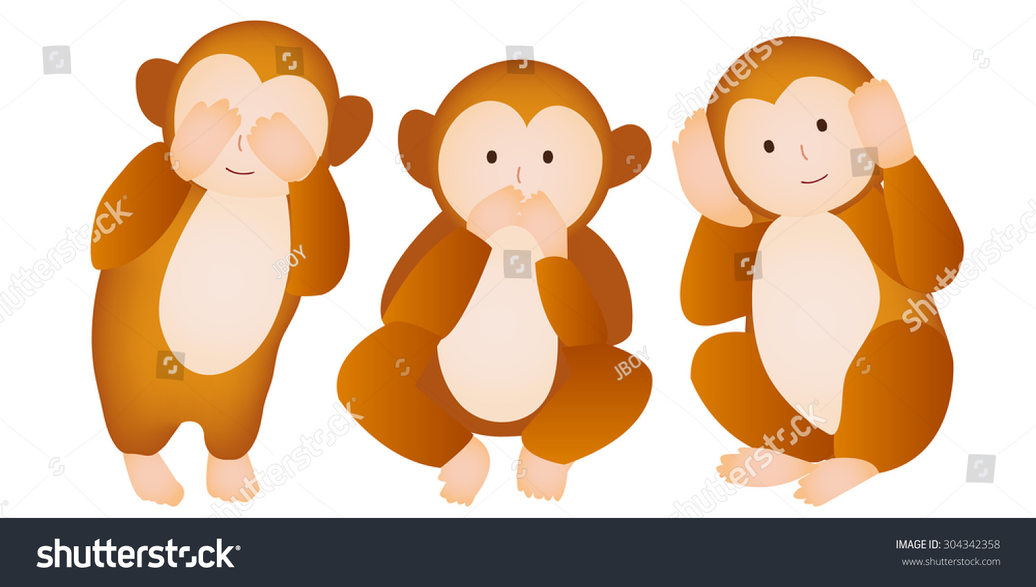 Monkey Three Wise Monkeys Greeting Cards Stock Vector 304342358