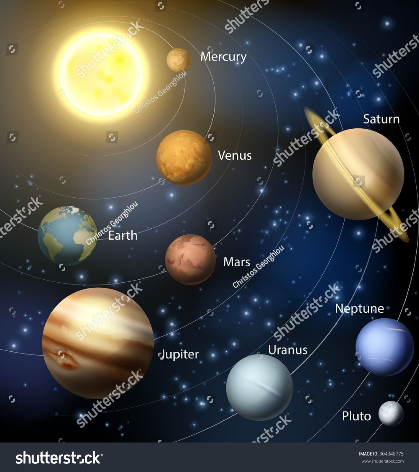 Illustration Planets Our Solar System Text Stock Vector ...