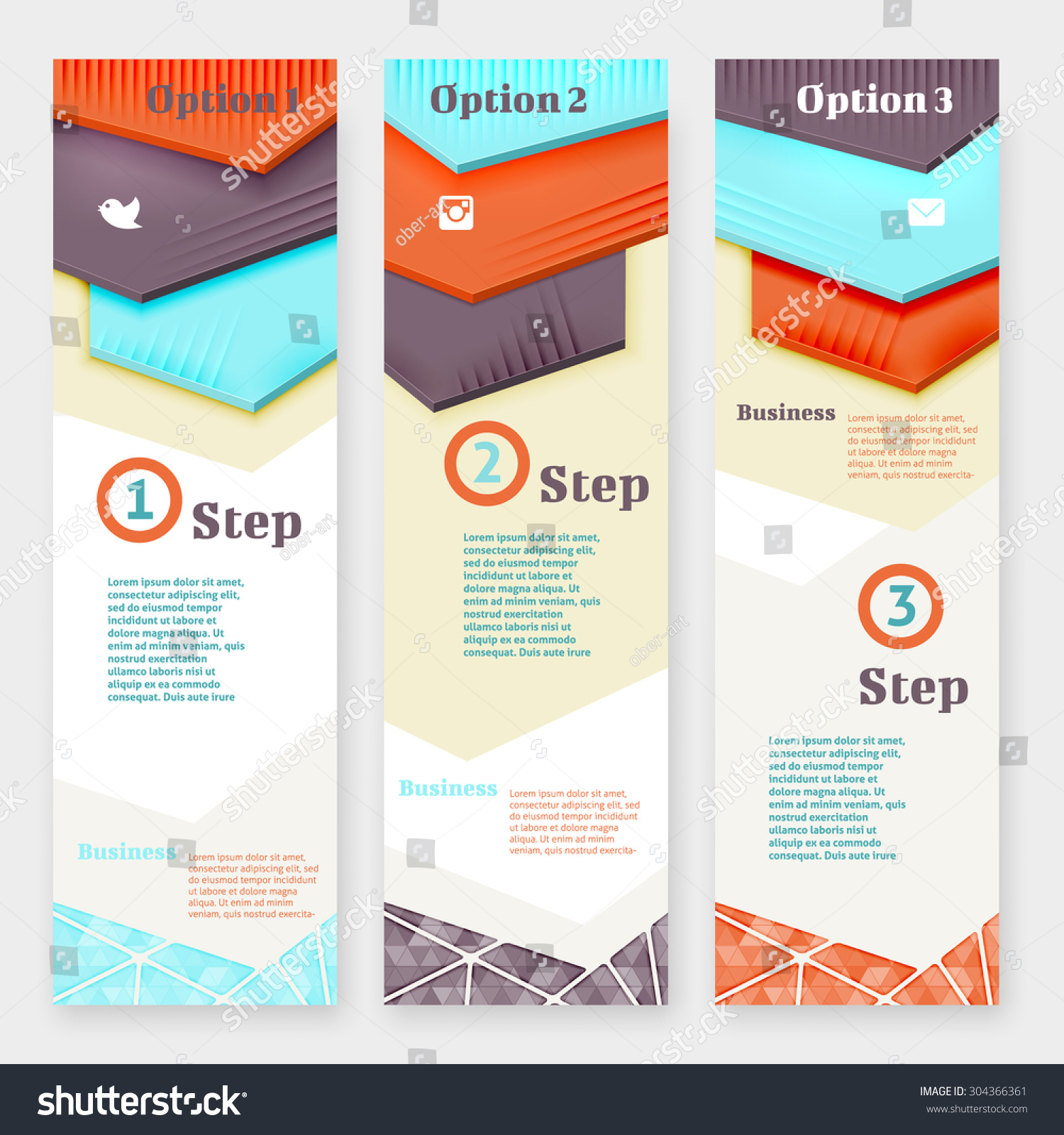 Set Material Design Banner Templates Three Stock Vector 304366361 ...