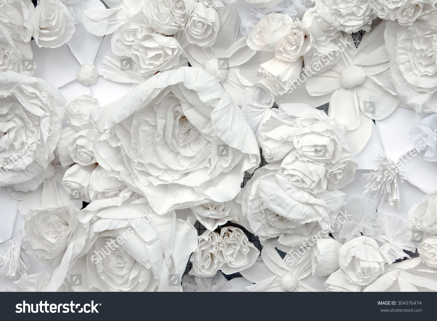Decorative Background White Paper Flowers Papermache Stock Photo