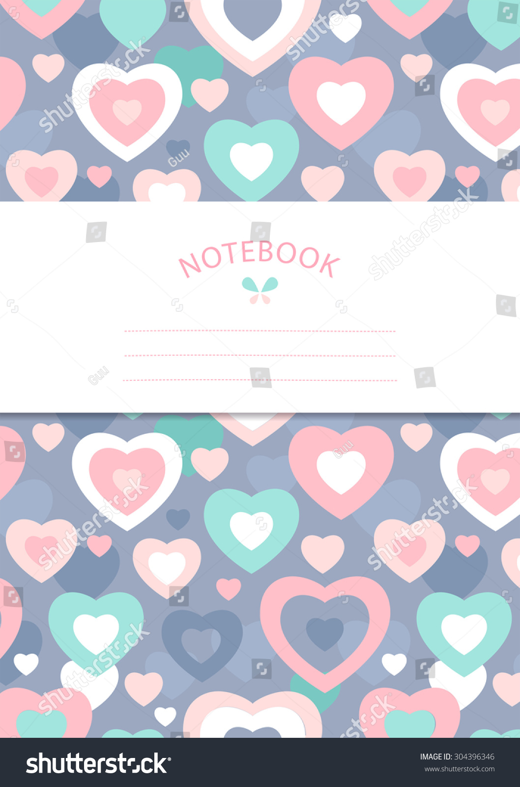 Notebook Cover Template Hearts On Purple Stock Vector Royalty Free