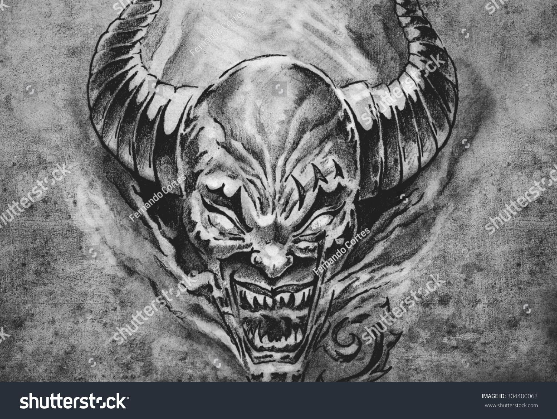 tattoo art sketch devil big horns stock illustration 304400063 shutterstock. Black Bedroom Furniture Sets. Home Design Ideas
