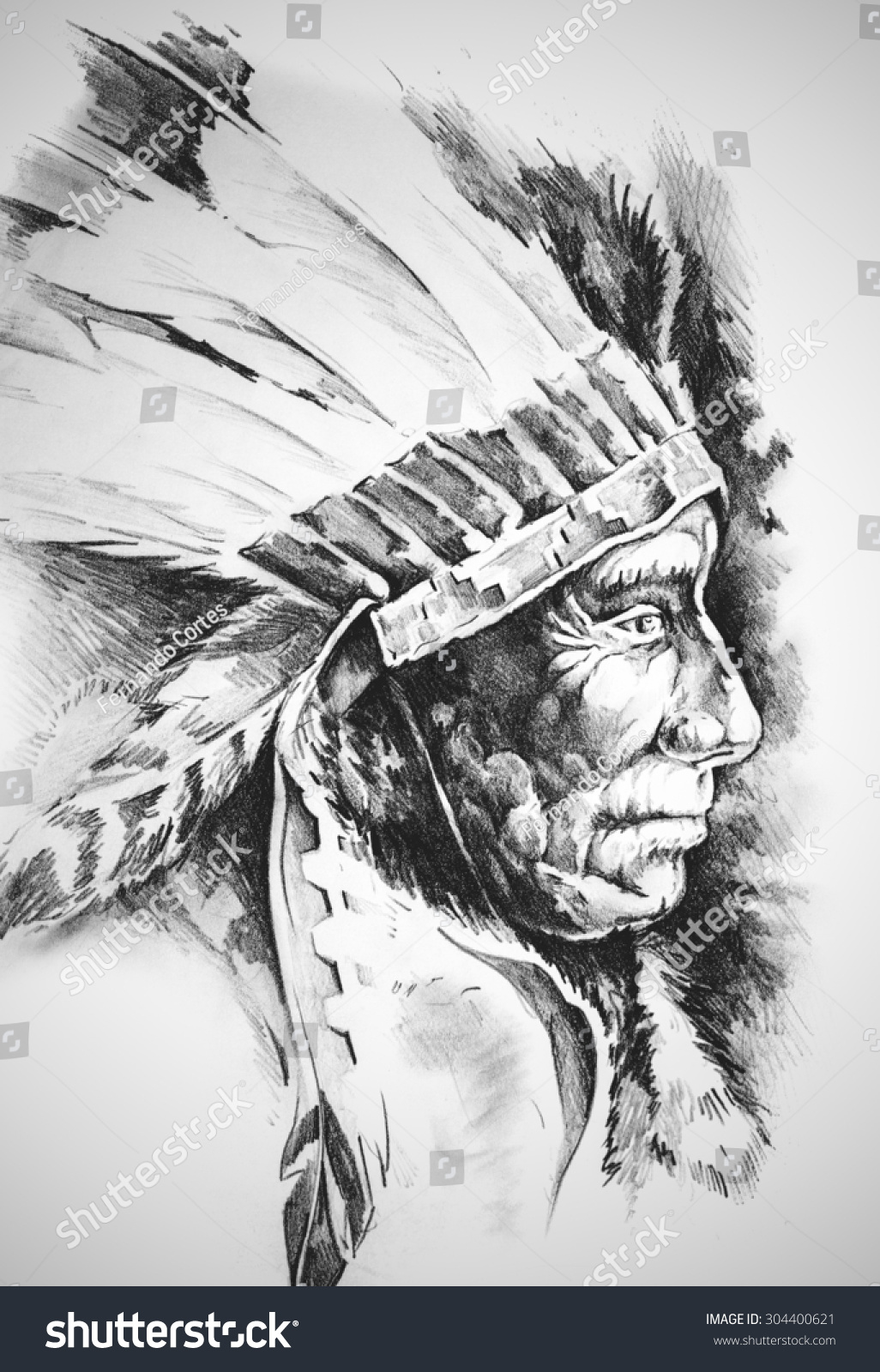 how to draw an indian head