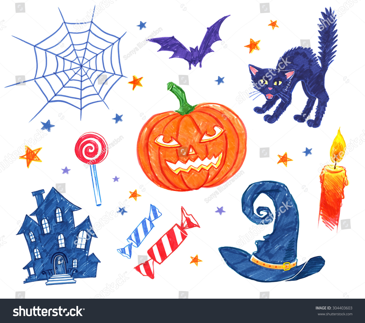 collection felt pen childlike drawings halloween stock illustration