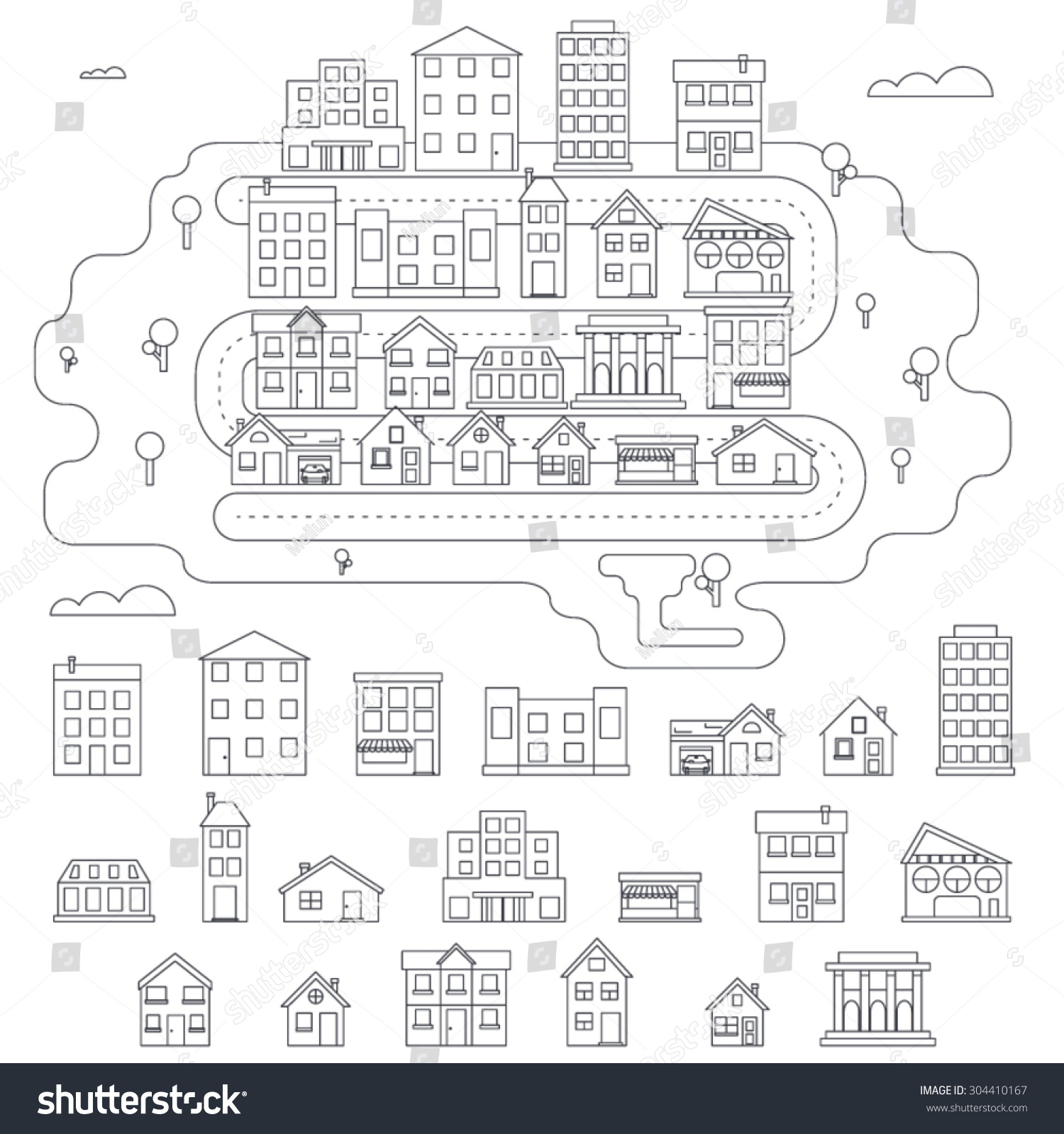 real estate city building house street stock vector 304410167